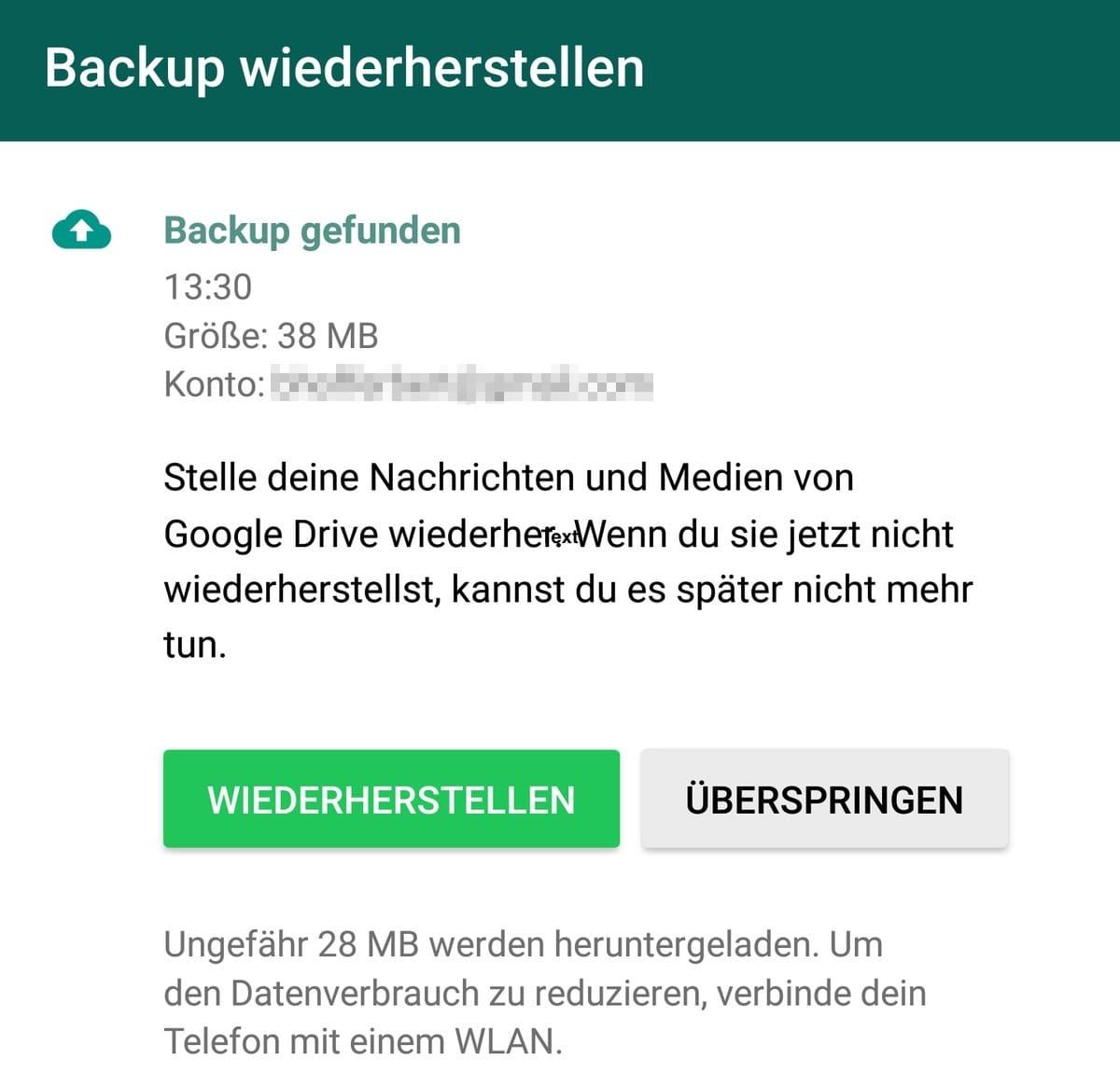 WhatsApp Backup Wiederhersten