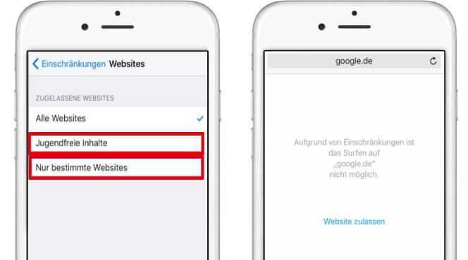 Websites sperren auf iPhone